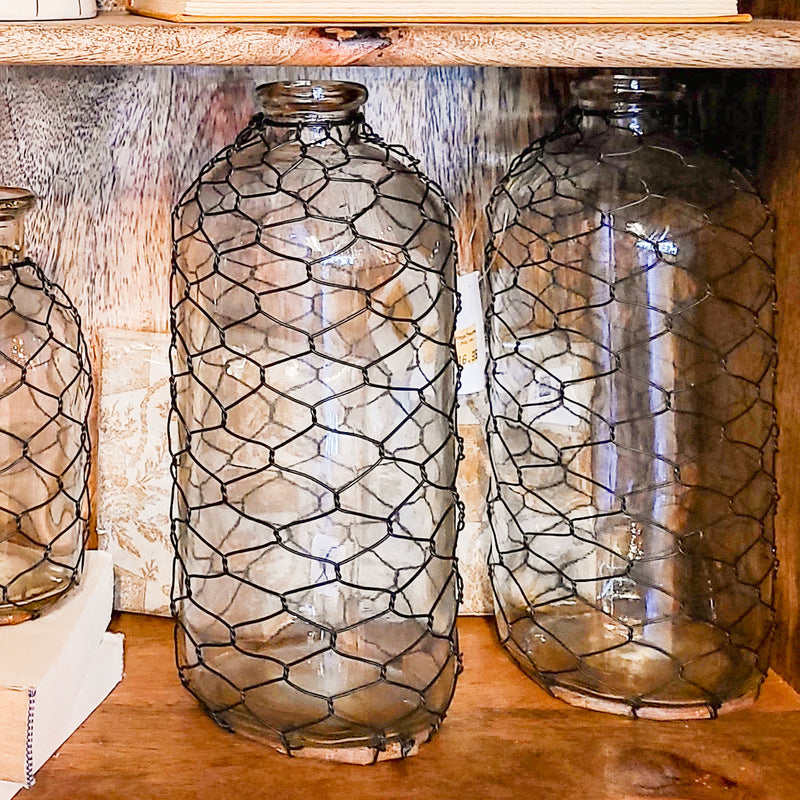 Chicken Wire Wrapped Bottle - Large