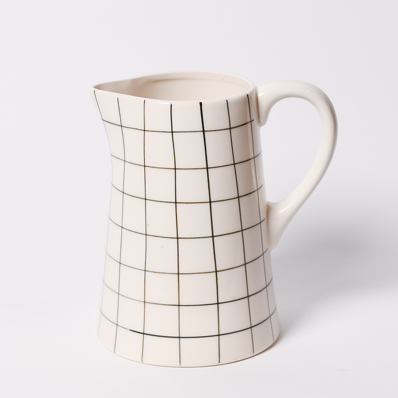 Black Grid Stoneware Pitcher