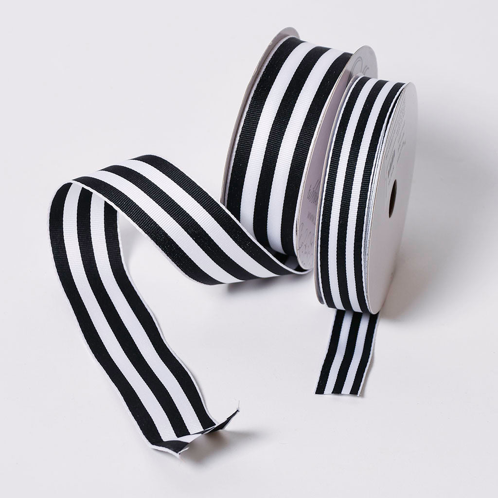 Black & White Striped Ribbon