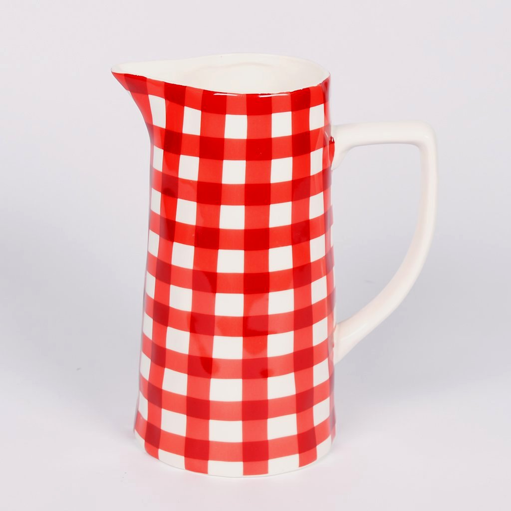 Gingham Stoneware Pitcher