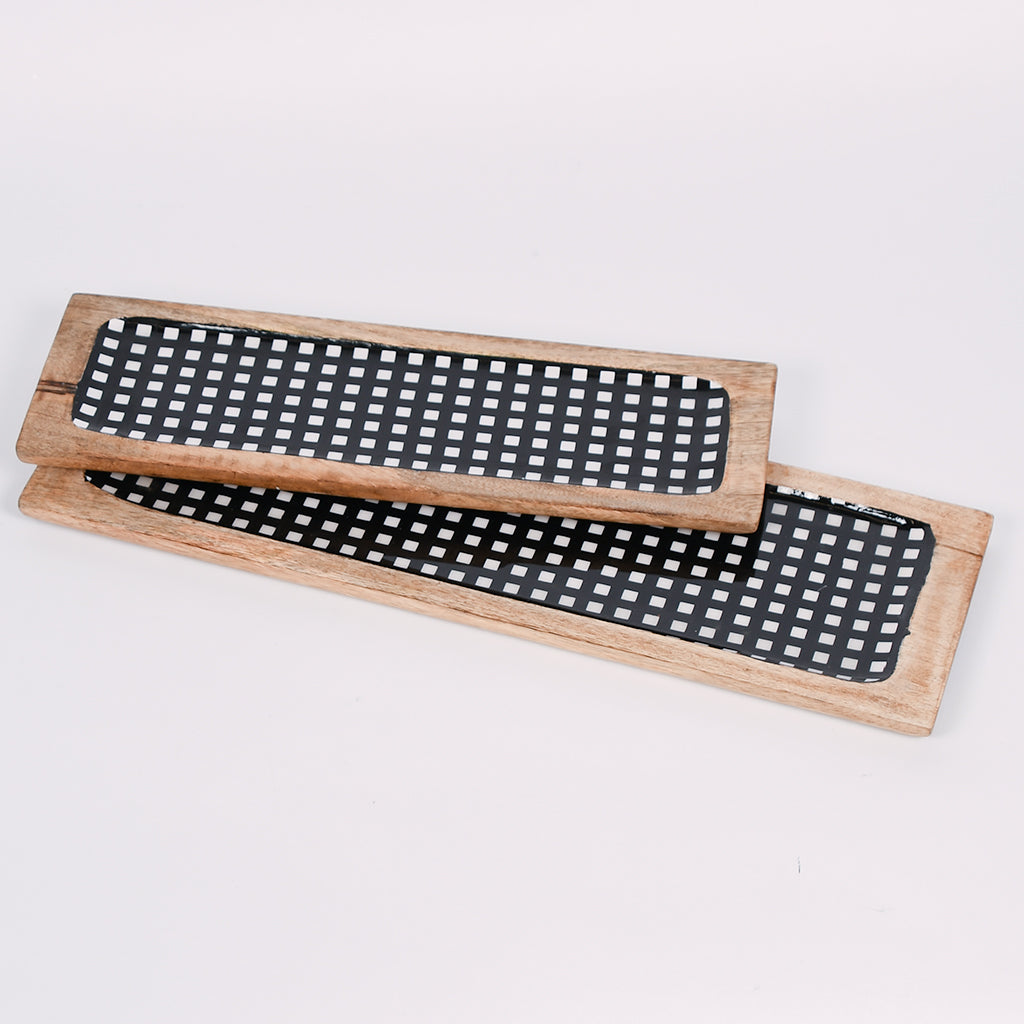 Black and White Checkered Tray