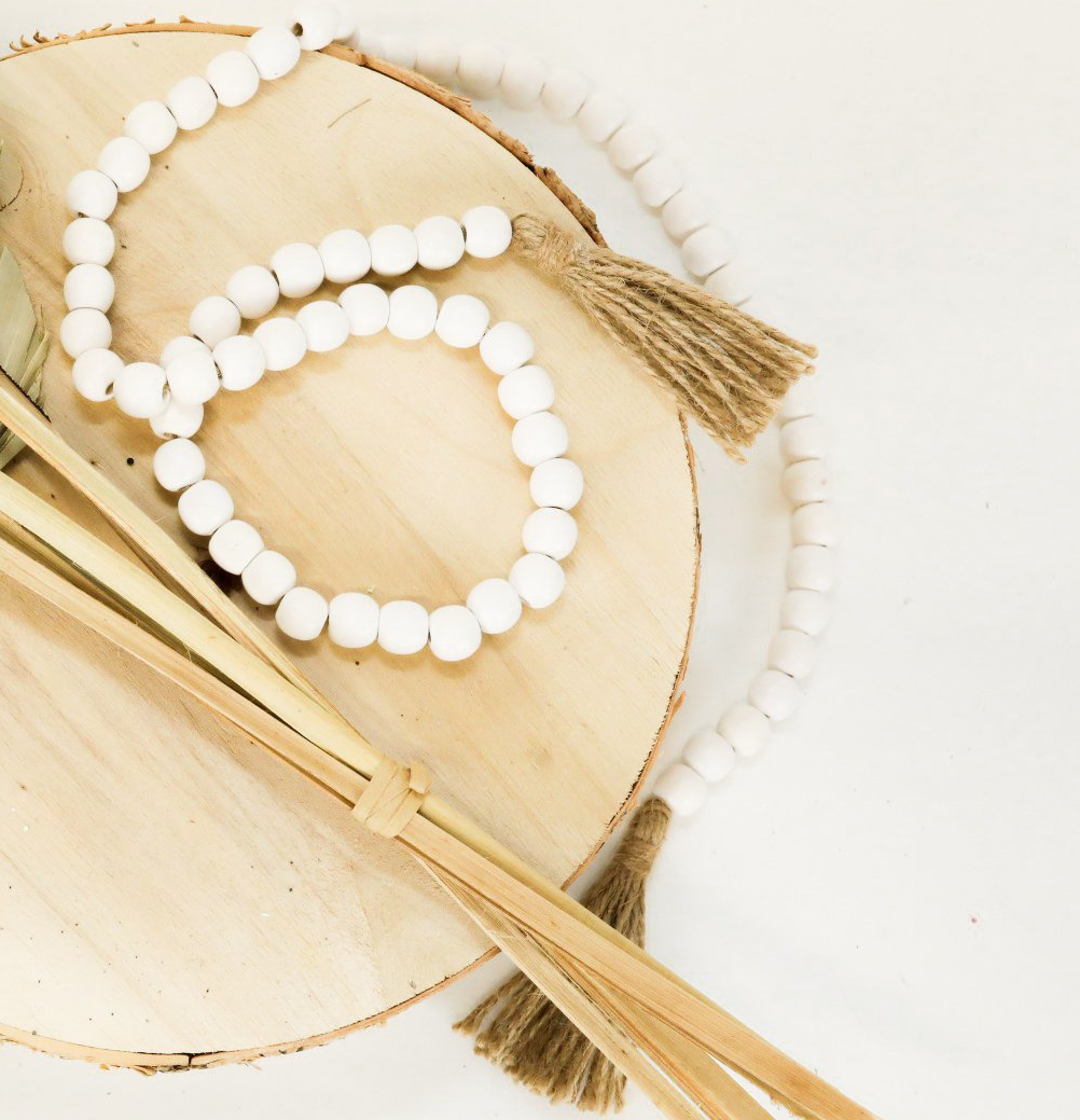 Wooden Tassel Beads - White