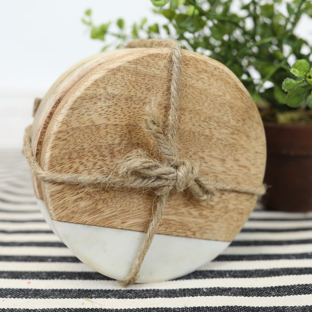 Coaster Set - Round Marble & Wood