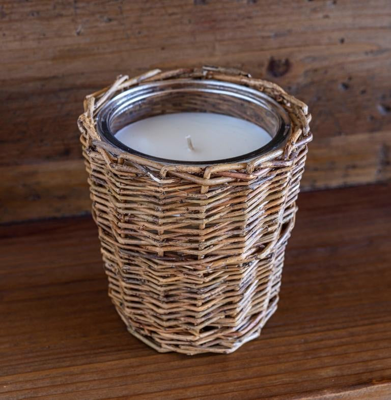 Lemonade Stand Wicker Basket Candle