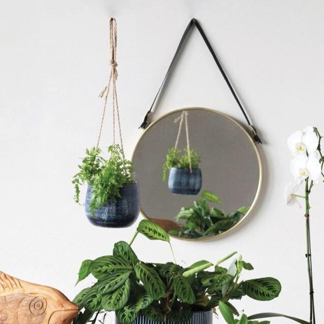 Blue Distressed Hanging Pot