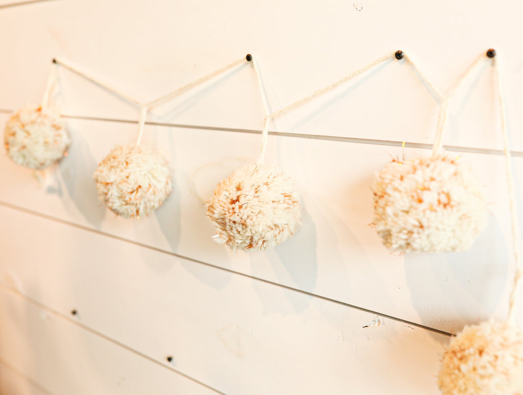 White and Gold Pompom Garland - Large
