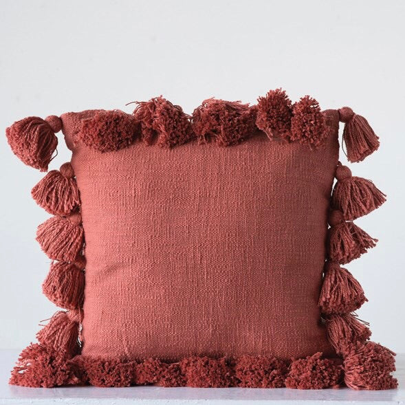 Tassel Pillow - Burnt Orange