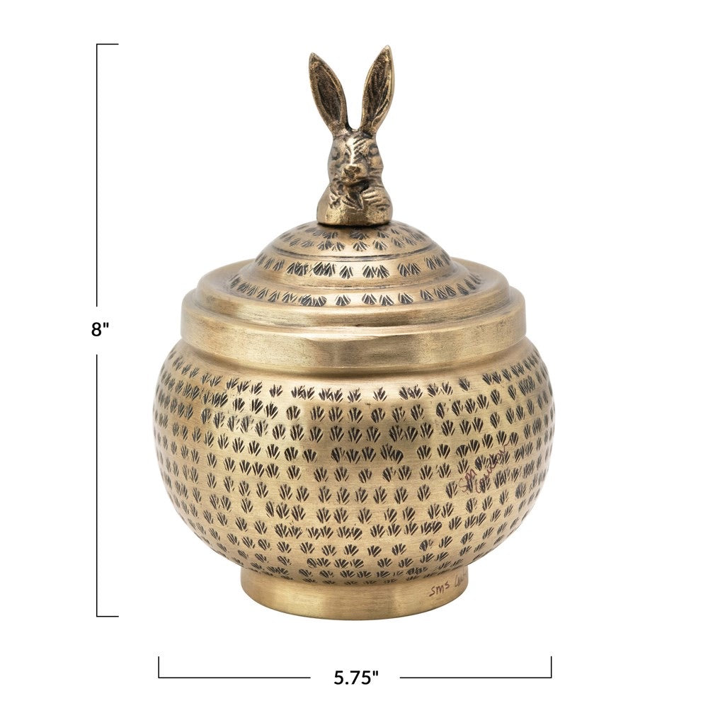 Brass Rabbit Lidded Container