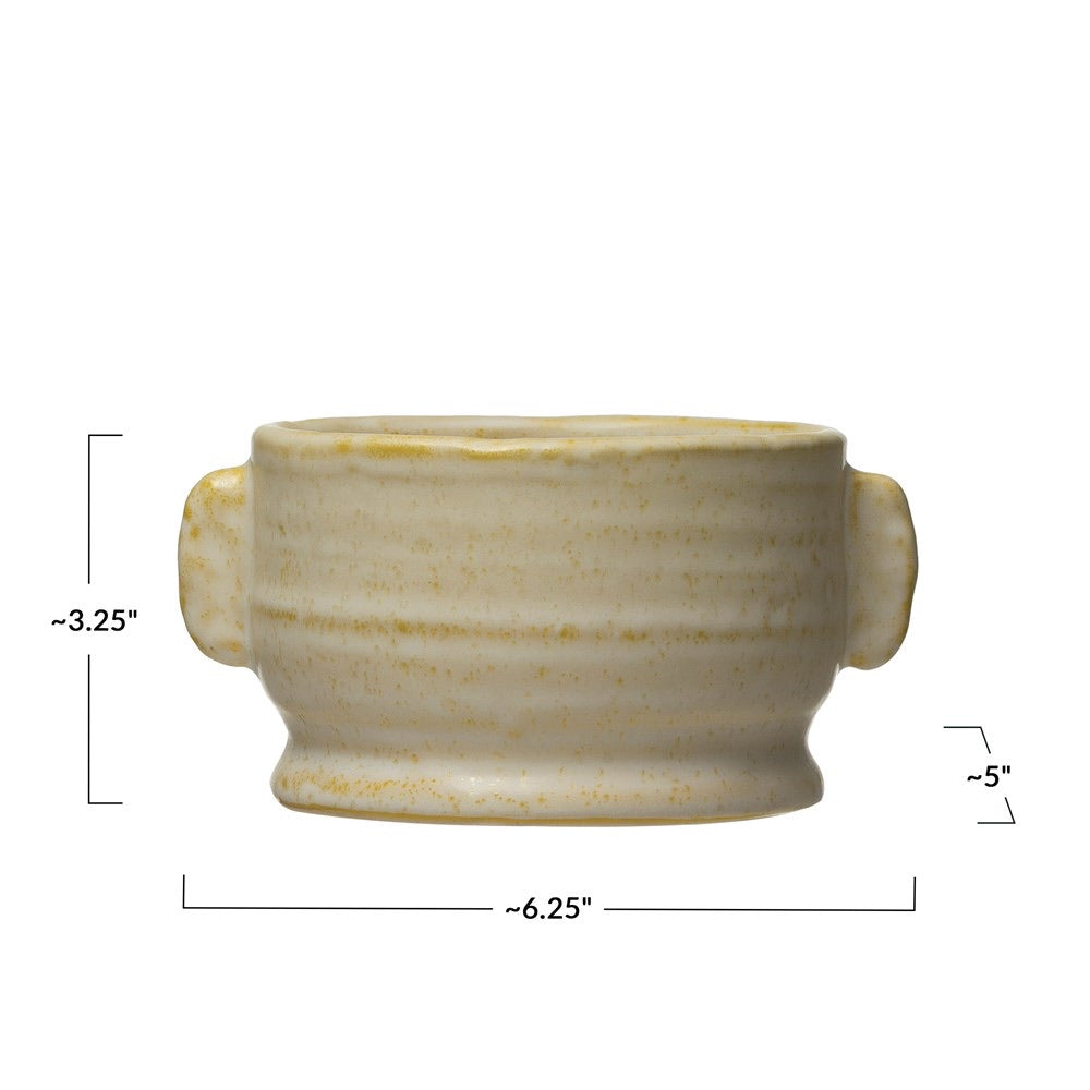 Yellow and White Glazed Pot