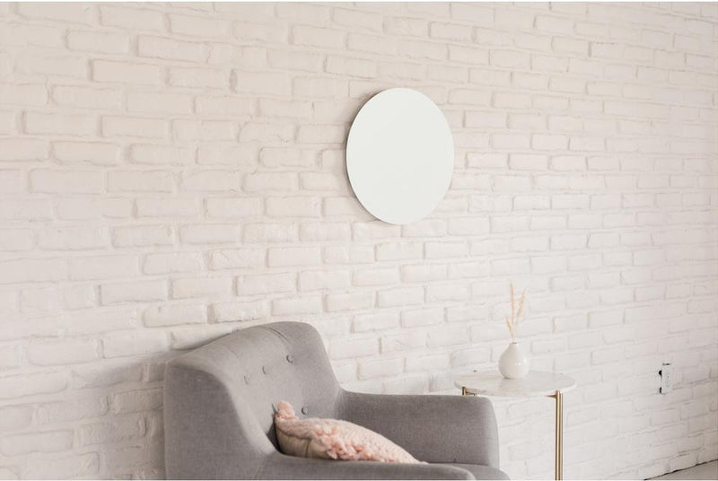 Round Glass Magnet Board in White - Small