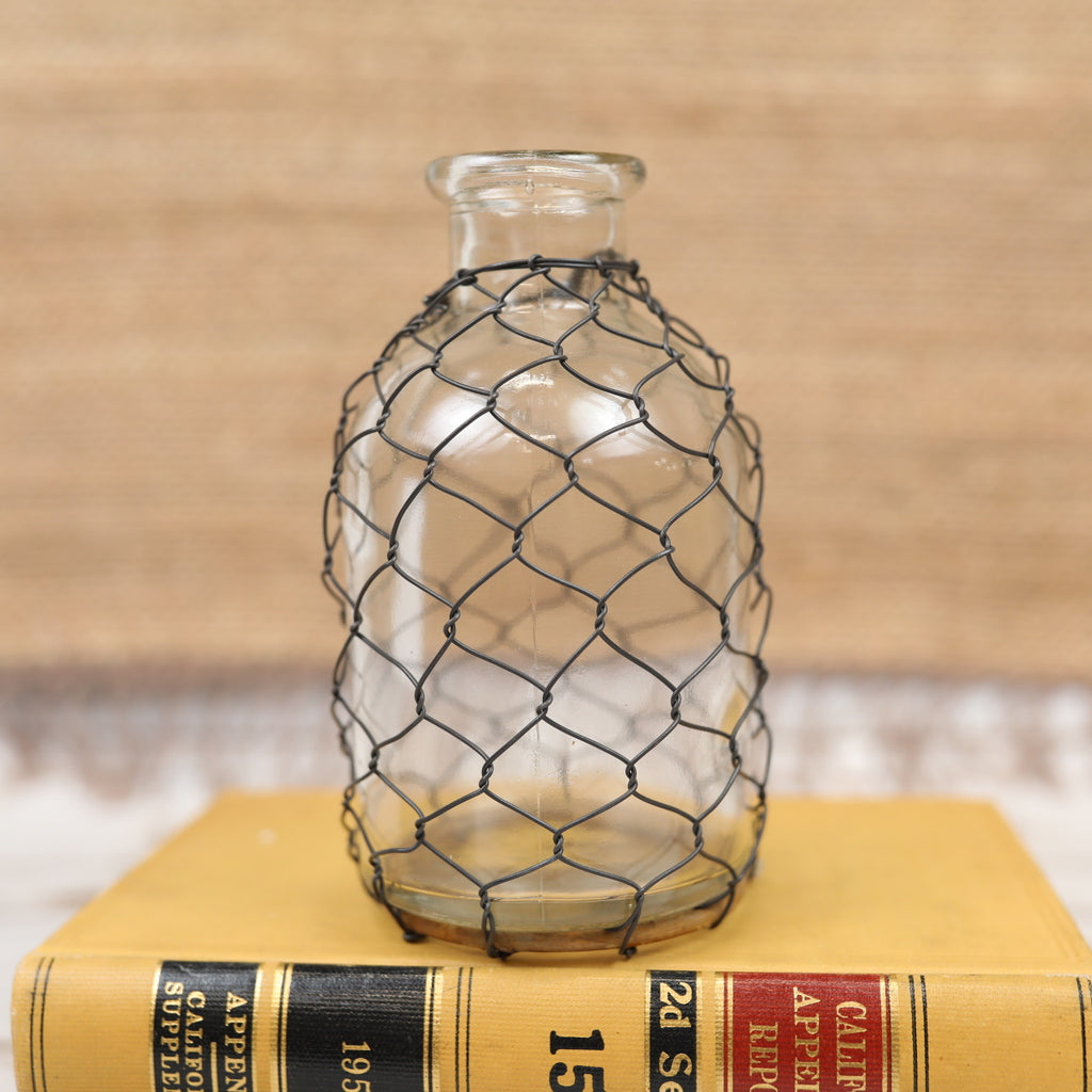 Chickenwire Wrapped Bottle - Small