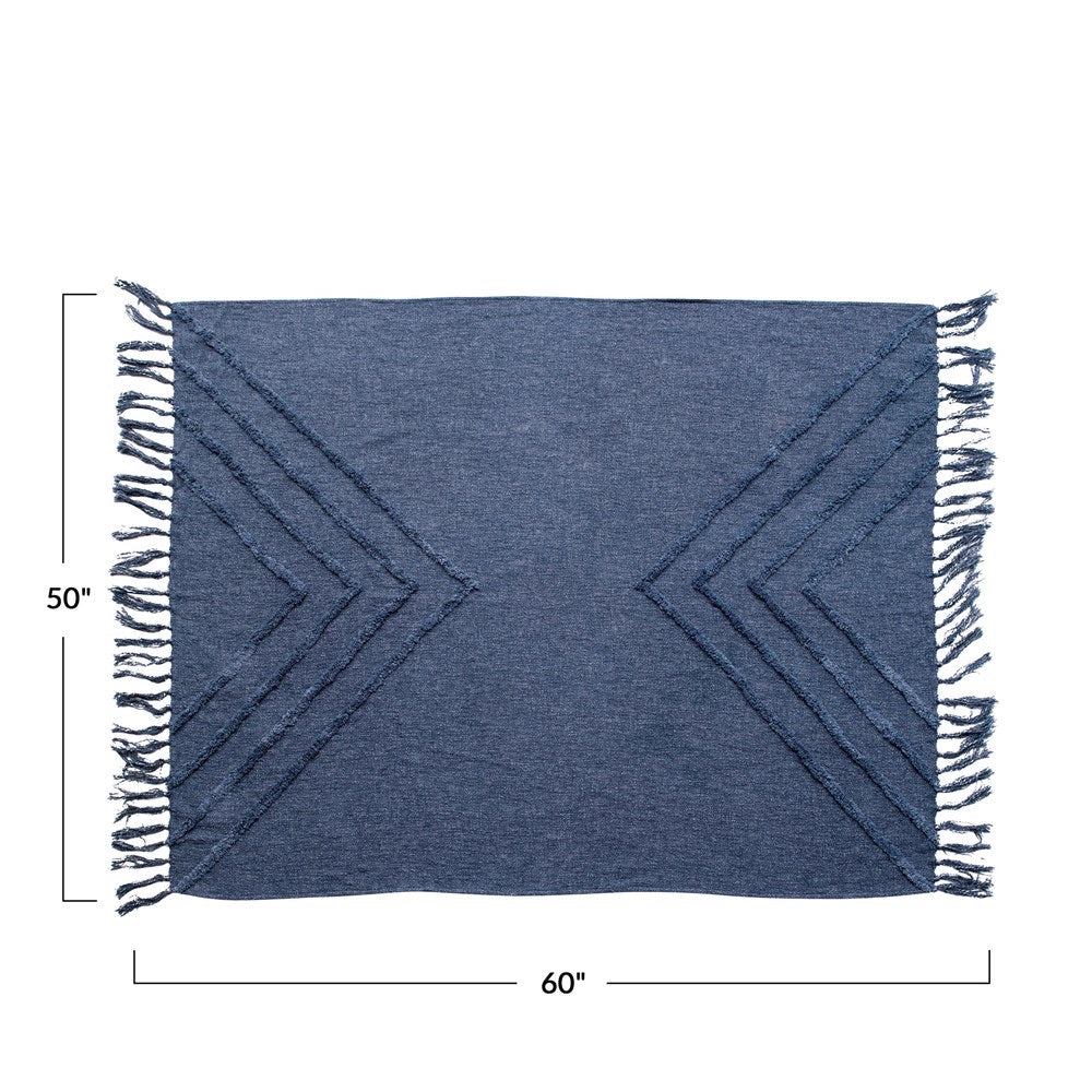 Solid Blue Cotton Fringe Throw