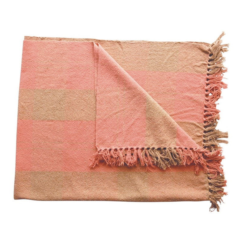 Coral and Tan Plaid Throw