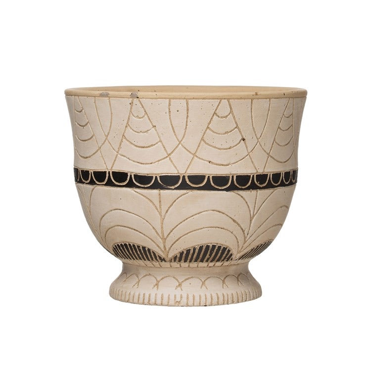 Geometric Carved Pot