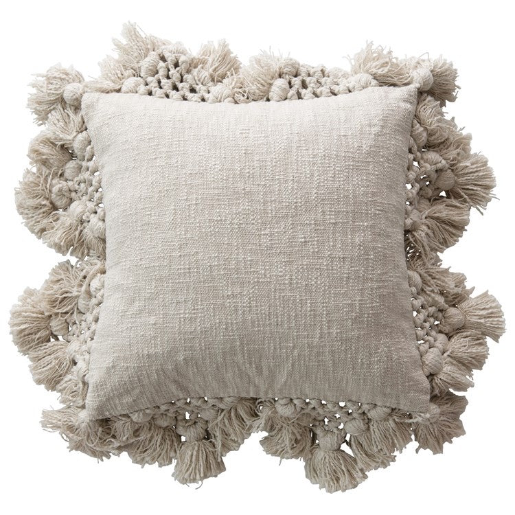 Macrame Boarder Pillow - Cream