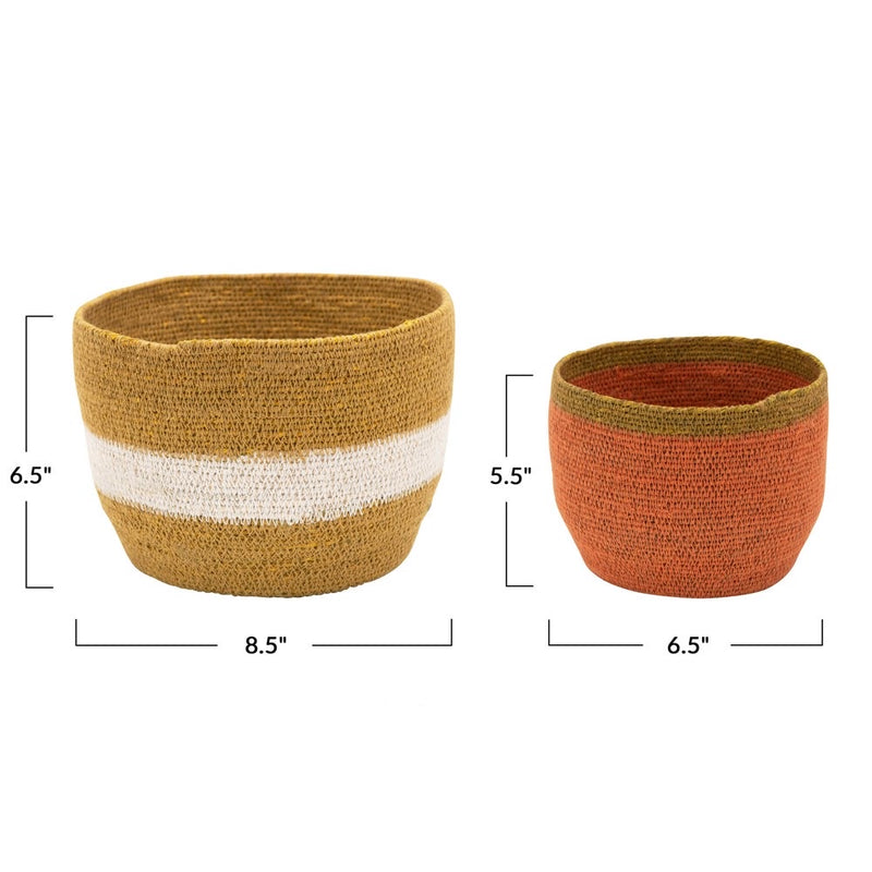 Colored Seagrass Baskets - 2 Styles