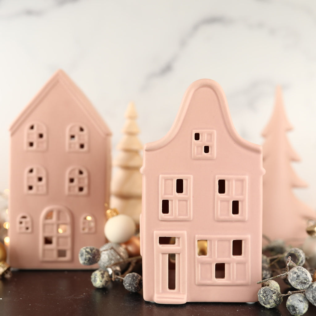 Pink Christmas Village House