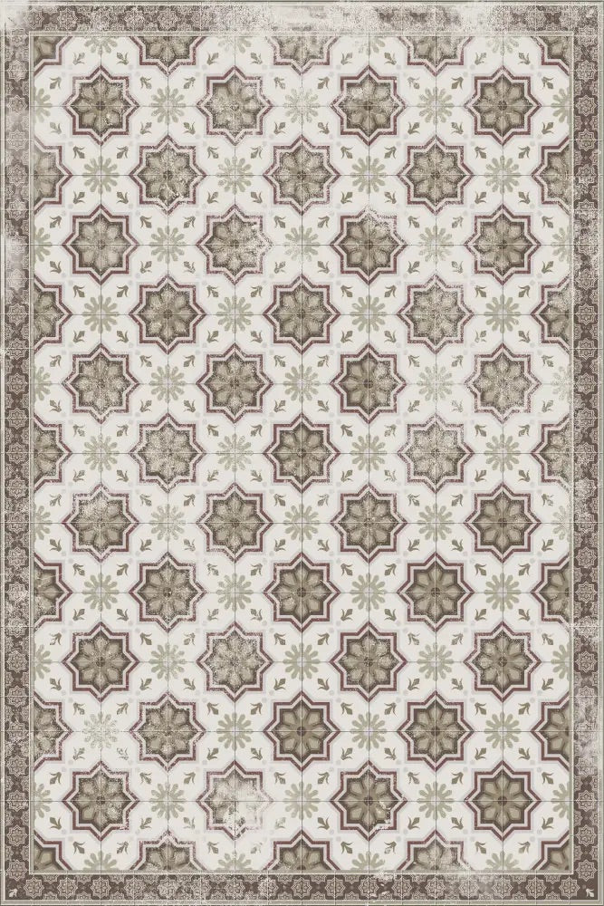 Olive Green and White Patterned Vinyl Rug