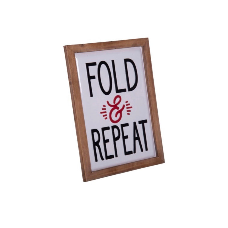 """Fold & Repeat"" Metal and Wood Sign"