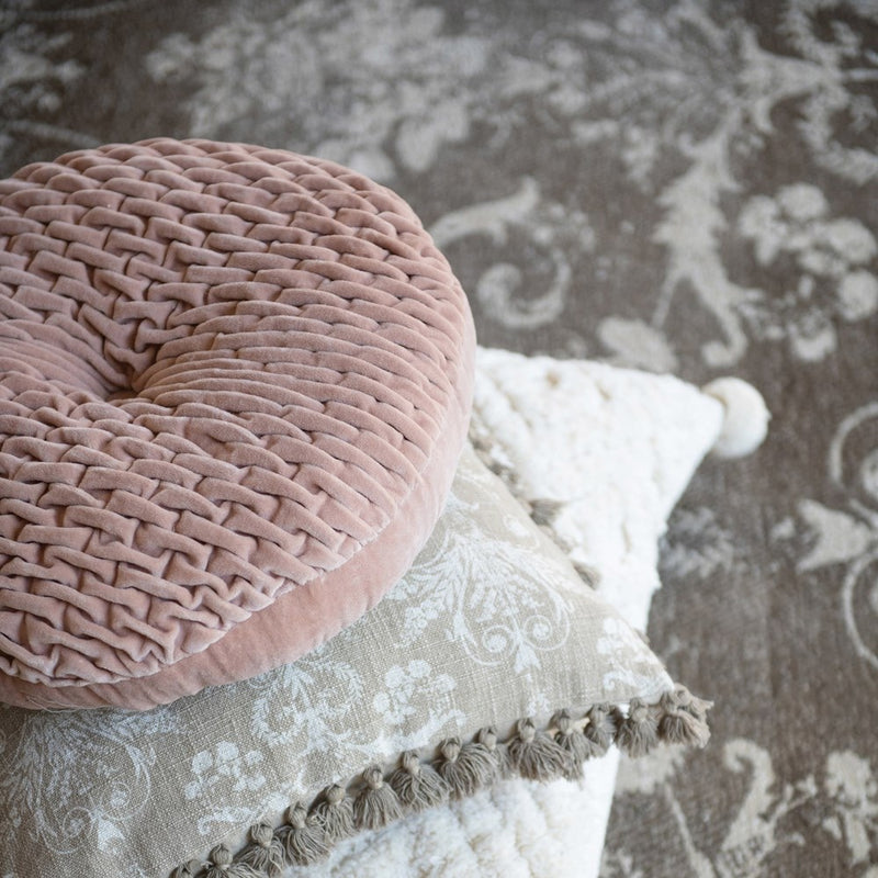 Blush Velvet Round Pillow