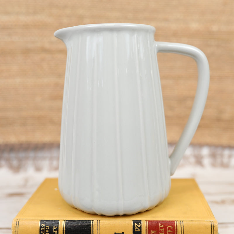 Ribbed Ceramic Pitcher in Grey - Large