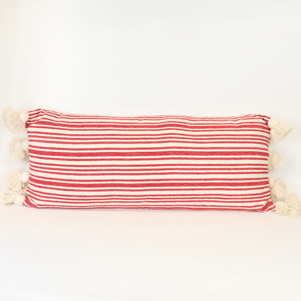 Red Stripe Oblong Pillow