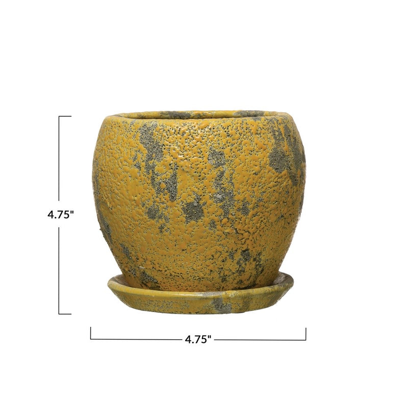 Yellow Crackle Pot With Saucer
