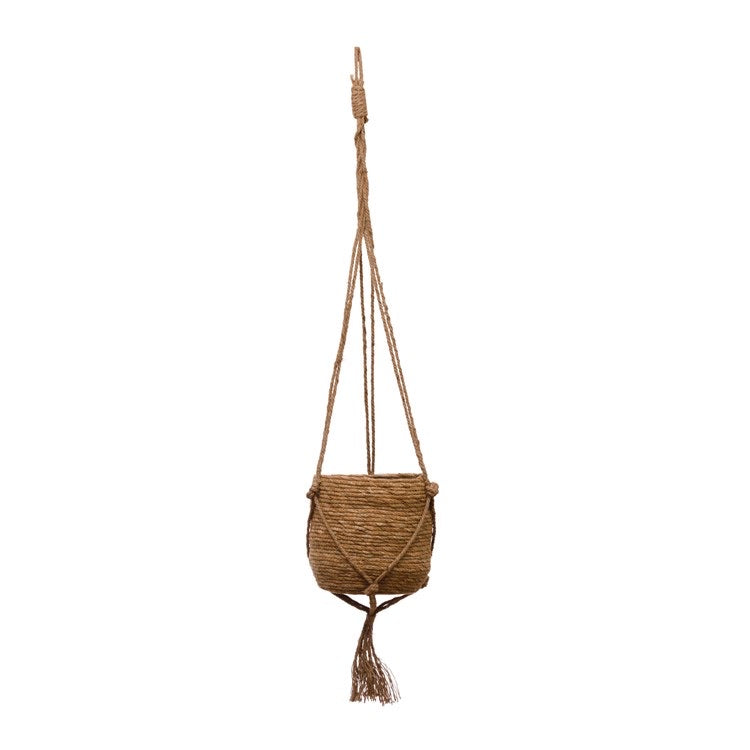 Straw Hanging Planter