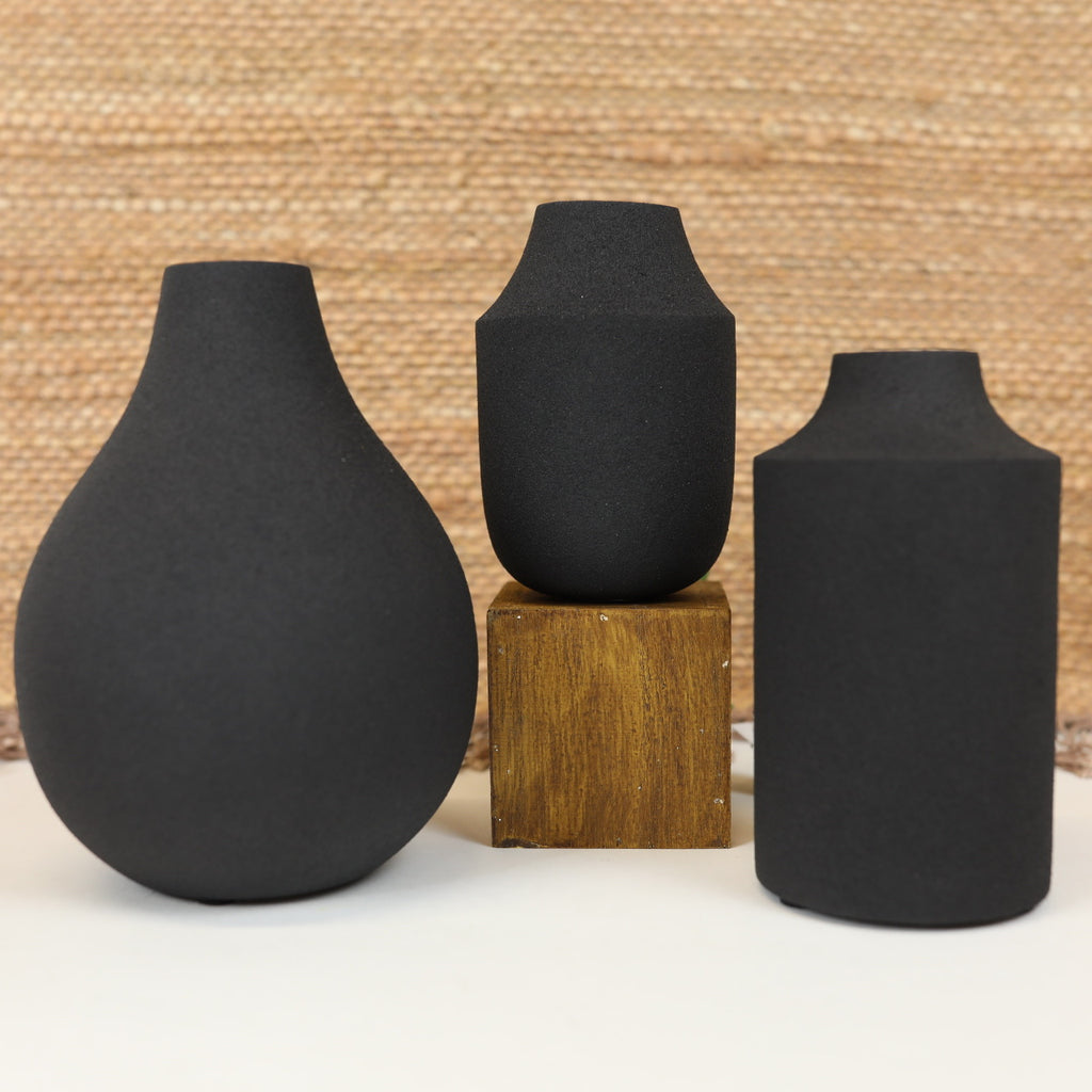 Textured Black Metal Vase - 3 Styles
