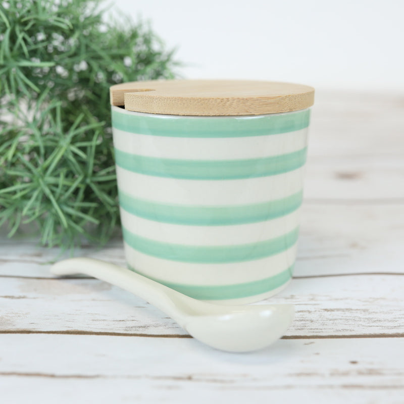 Striped green Sugar Canister