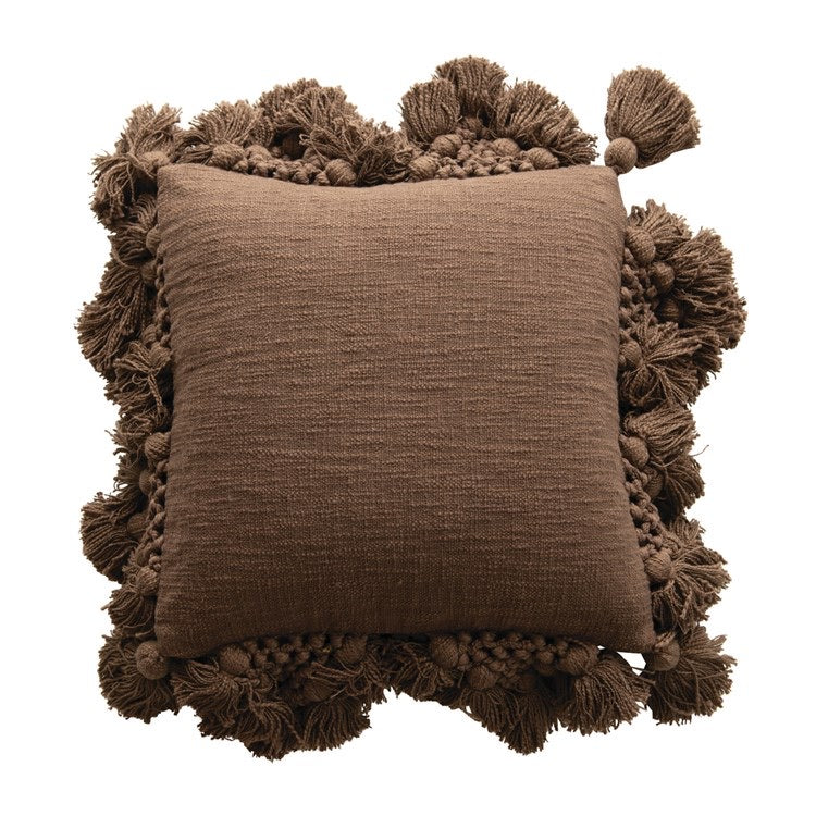 Macrame Boarder Pillow - Deep Espresso