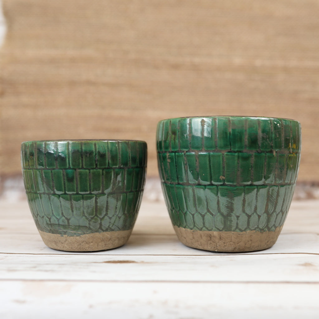 Emerald Glazed Terra-cotta Pot - 2 sizes