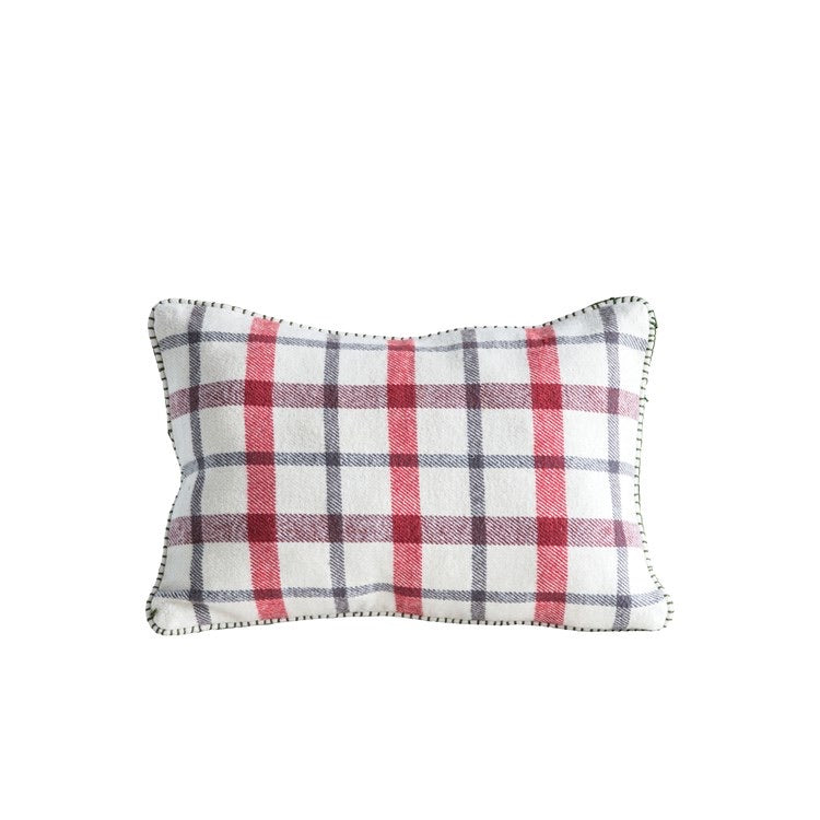 Plaid Blanket Stitch Pillow
