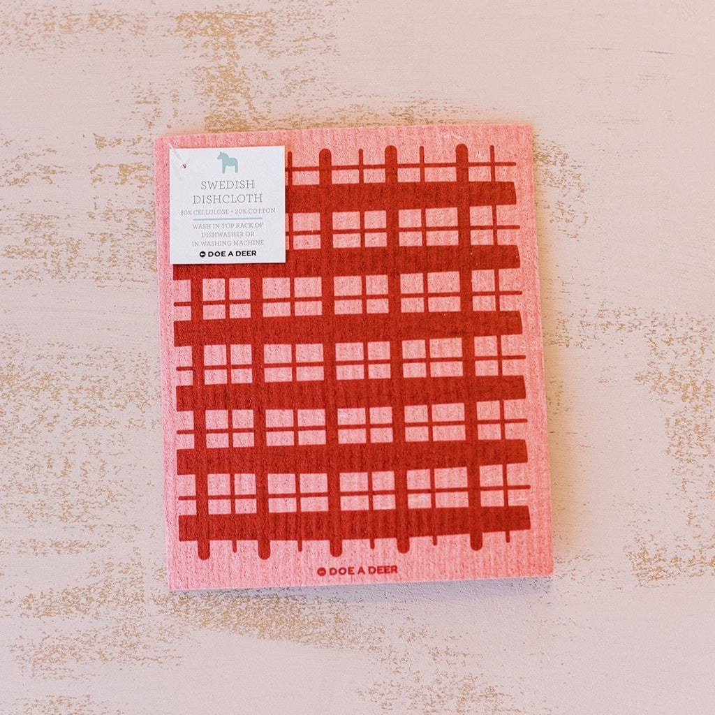 Swedish Dishcloth - Pink Plaid