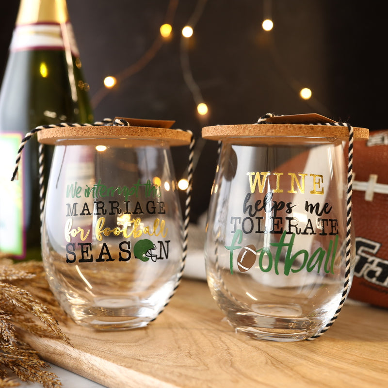 Marriage & Football Glass and Coaster Set