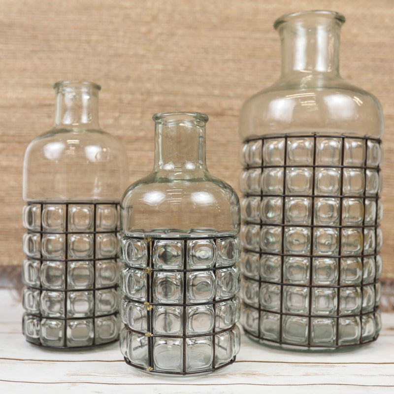 Metal Caged Bubble Vases - 3 Sizes