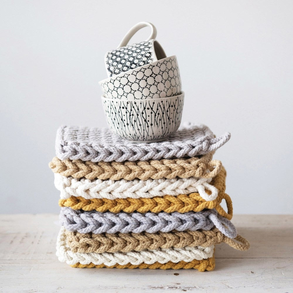 Crochet Pot Holders - Mustard Collection