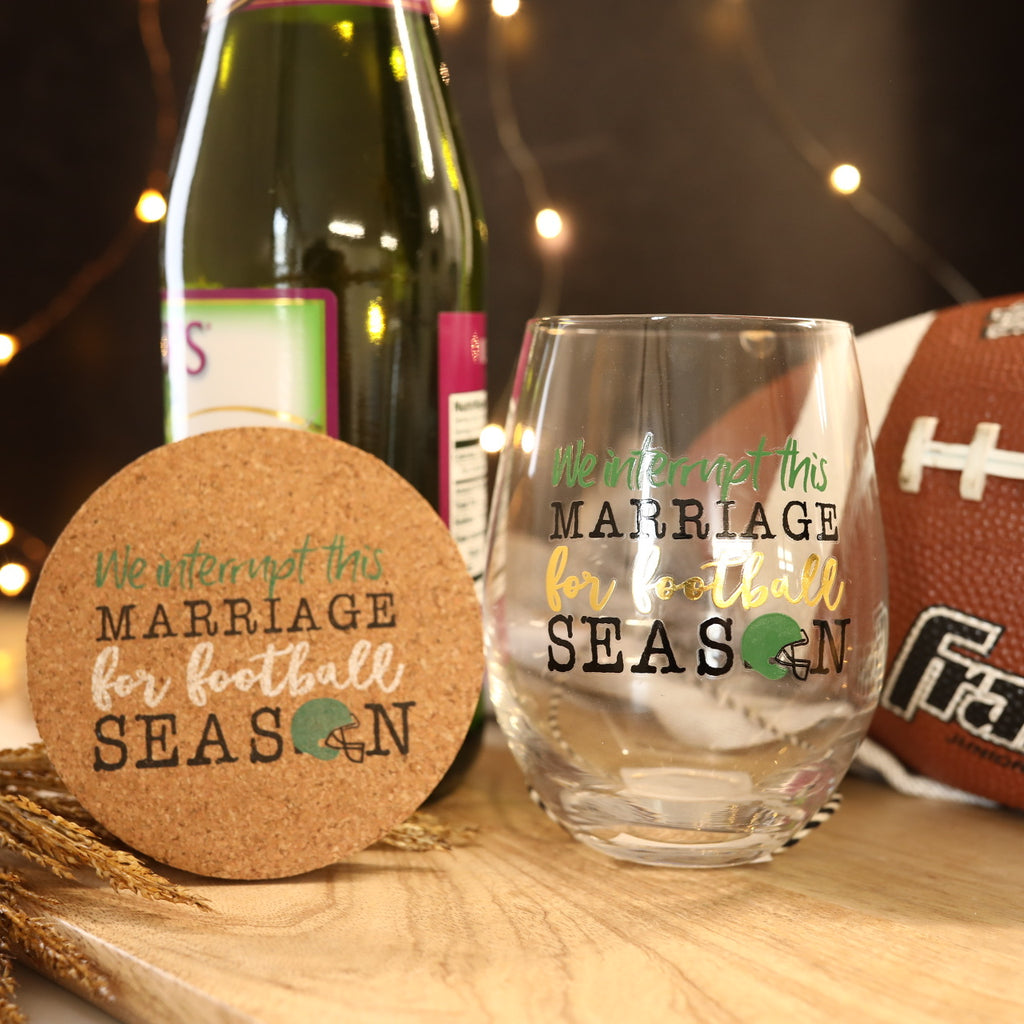 Glass & Coaster Set - Marriage & Football