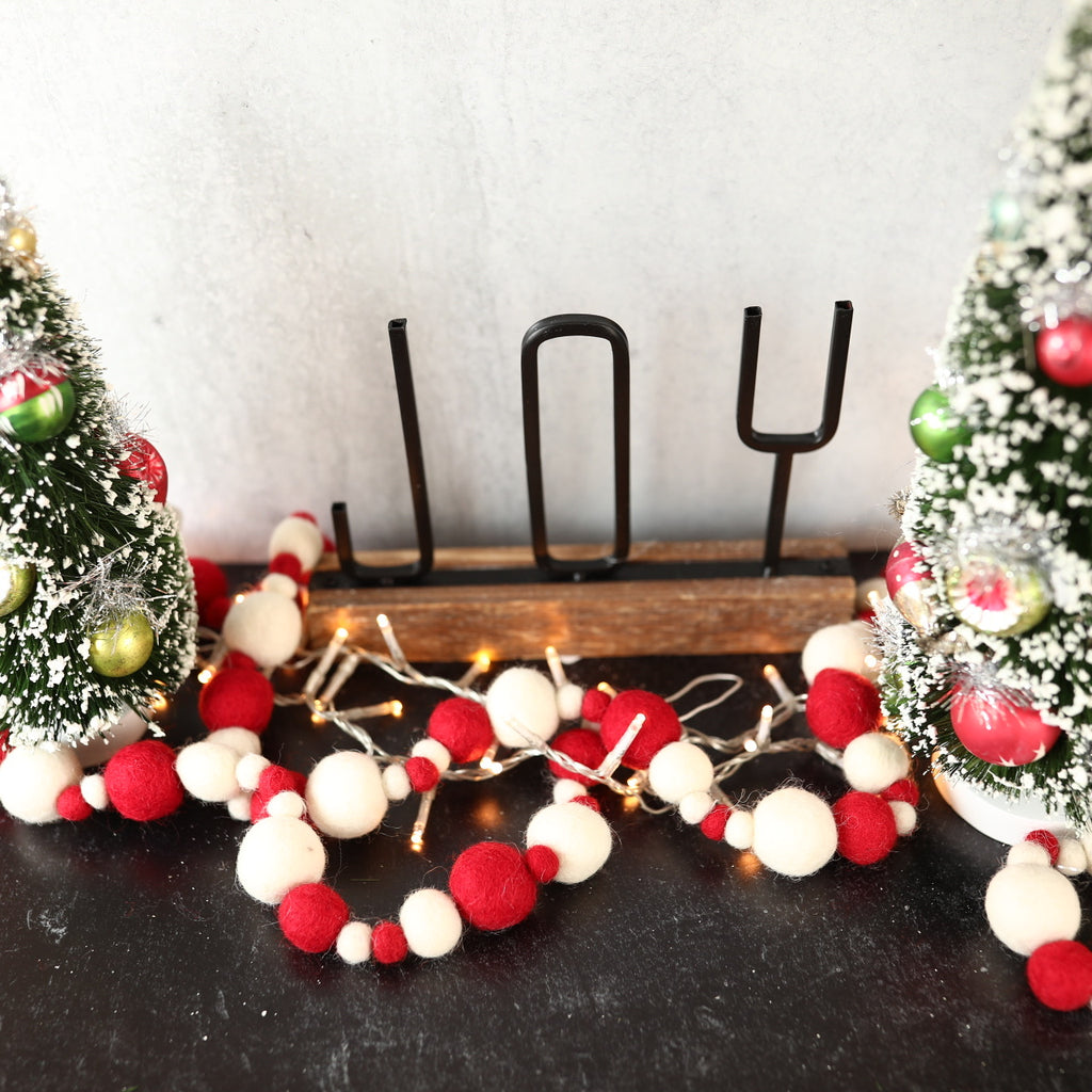 Red and Cream Multi Size pompom garland