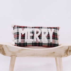 Merry Tartan Pom Pillow