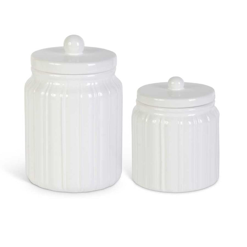 Ribbed Ceramic Canisters in White