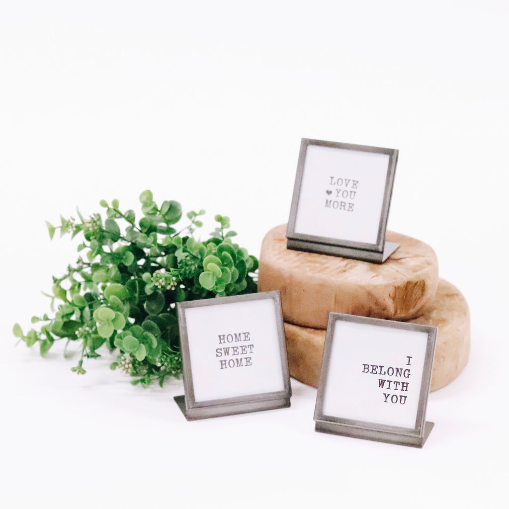Small Metal & Glass Frame - 3 Sayings