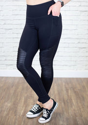 High Waisted Moto Leggings. Model is wearing a size Medium.