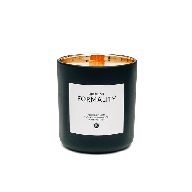 Black with gold lining masculine scented candle with natural 100% soy wax and wood wick
