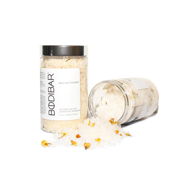 Skin balancing bath therapy salts with French Yellow Clay and Dead Sea salts in 300g jar with silver lid