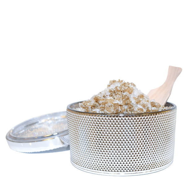 bodibar Silver bath salt jar with lid and wooden scoop 300g