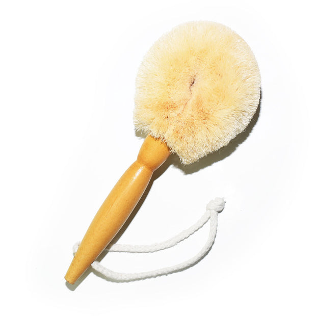 Wet and dry travel body brush made from soft jute bristle 100% natural vegetable fibres