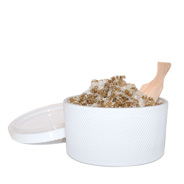 bodibar White bath salt jar with lid and wooden scoop 300g