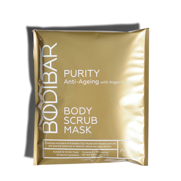 bodibar anti-ageing body scrub and mud mask spa treatment 8 pack sachets