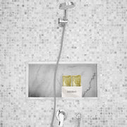 bodibar white shower caddy custom made for body scrub sachets featured in marble shower